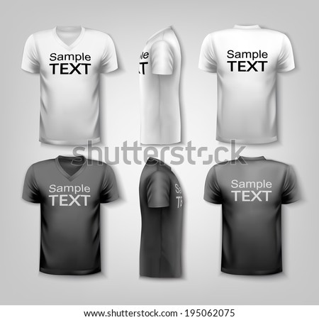 Black and white  men t-shirts. Design template. Vector illustration  - stock vector
