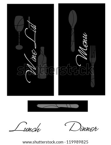 Black and white menu and wine list covers - stock vector