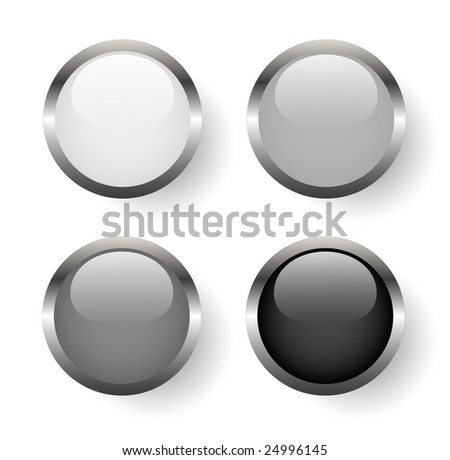 Black and white metal buttons