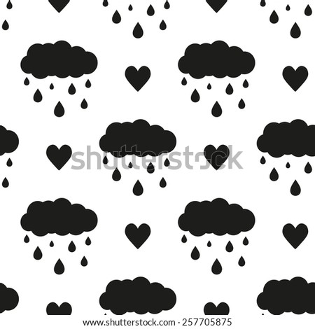 Black and white minimalist heart and cloud seamless pattern for nursery wallpaper. Set of isolated funny cute decorative symbols and elements. Chess grid order pattern. - stock vector