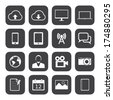 Black and White mobile phone icons. - stock vector