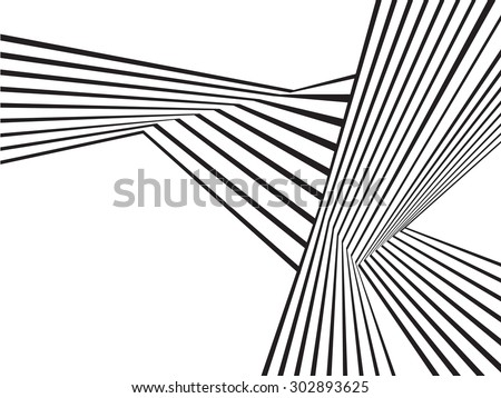 black and white mobious wave stripe optical abstract design - stock vector