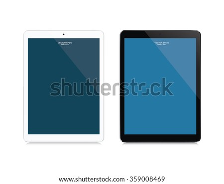 Black and white modern touch screen tablet with empty screen area for copy space. Vector illustration. - stock vector