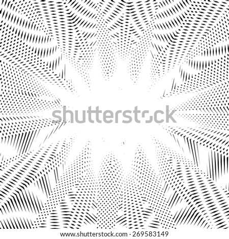 Black and white moire lines, vector striped  psychedelic background.  Op art style contrast pattern. - stock vector