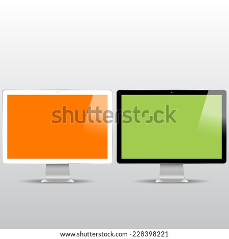 black and white monitor mock ups with color backgrounds