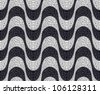 Black and white mosaic wave pattern background. Vector file layered for easy manipulation and coloring. - stock photo