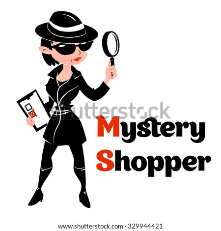 Black and white mystery shopper woman in spy coat, boots, sunglasses and hat with magnifier and checklist. Full-length vector. - stock vector