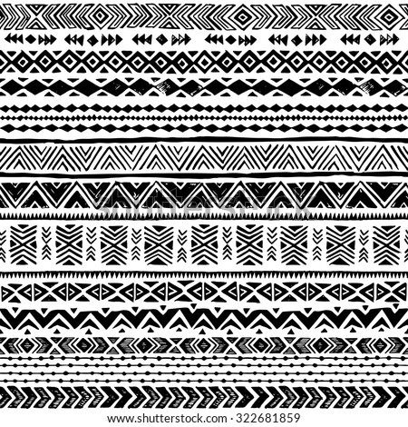 Simple tribal patterns black and white