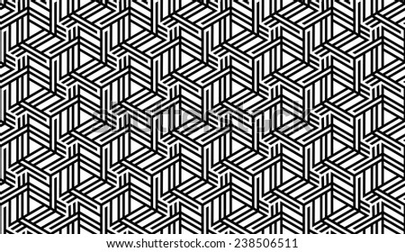 Black and White Optical Geometric Seamless for Printing on Fabric � Abstract Background with Pattern in Swatches Panel