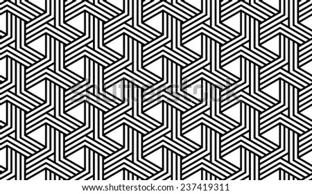 Black and White Optical Geometric Seamless for Printing on Fabric. Abstract Background with Pattern in Swatches Panel