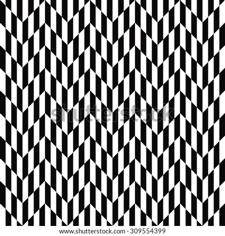 black and white optical illusion chevron pattern. seamless vector background. - stock vector