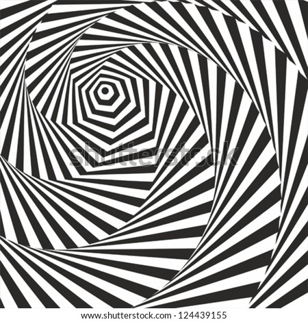 Black and white optical illusion. Vasarely optical effect. - stock vector