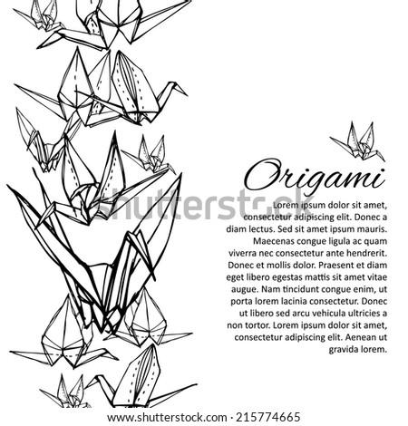 Black and white origami crane illustration. - stock vector
