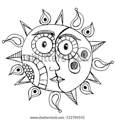black and white original drawing of Sun and Moon