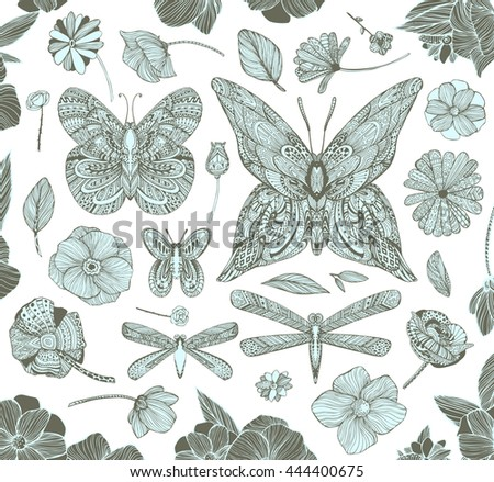 Black and white ornamental fantastic flowers, magic flat composition. Monochrome Pattern: Floral Texture, Decorative elements for Adult Coloring Book page. Hand drawn vector illustration.