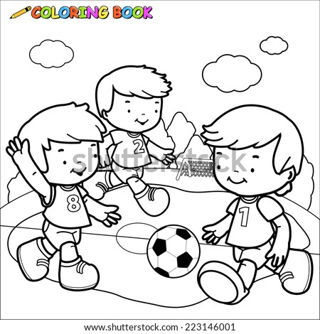 black and white outline image of three little boys playing football coloring book page