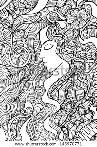 Black and white outline vector illustration of a beautiful long-haired woman. The charm of music, melody, sound.  - stock vector