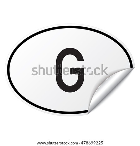 Black and white oval country code car sticker from Gabon - G