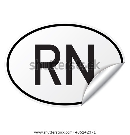 Black and white oval country code car sticker from Niger - RN
