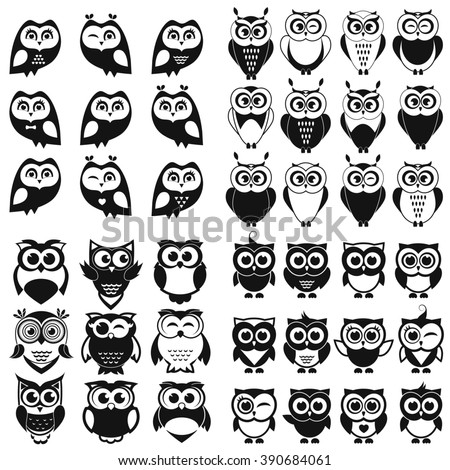 Black and white owl and owlet set - stock vector