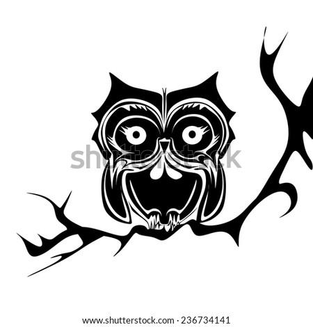 Black and white owl vector - stock vector
