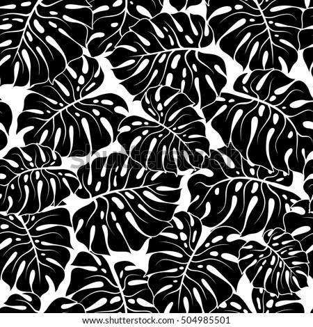 Black And White Palm Leaves Silhouette Vector Seamless Pattern With Tropical Plants Floral Background