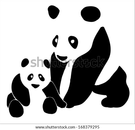 black-and-white Panda with baby - stock vector