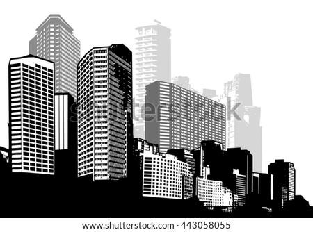Black and white panorama city. Vector art - stock vector