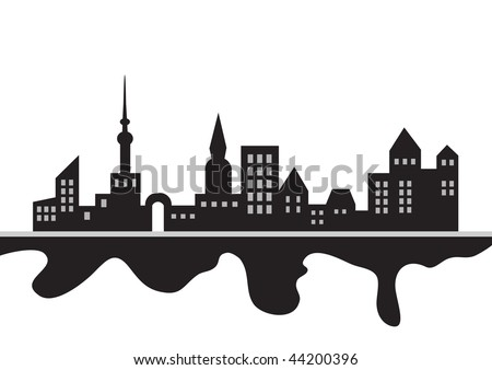 Black and white panorama of a city, vector silhouette illustration - stock vector
