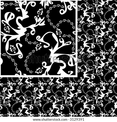 "Black and white pattern for wallpaper or textiles, very elegant.  Ready for the ""Define Pattern"" command in your vector-editing software."