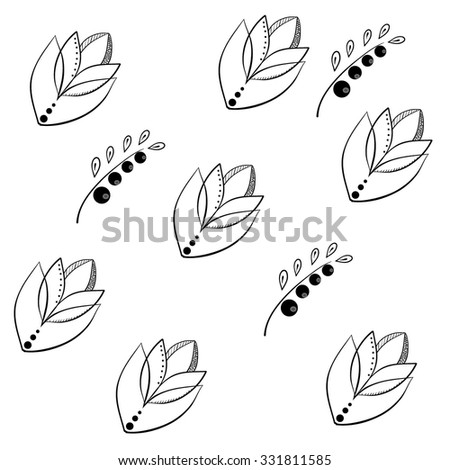 black and white pattern of flowers and berries - stock vector