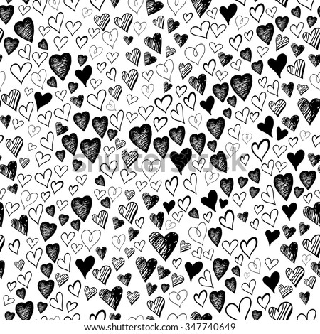 Black and white pattern of the shaded hearts of different sizes. Isolated. Seamless pattern of ink elements. Hatched black and white hearts - stock vector