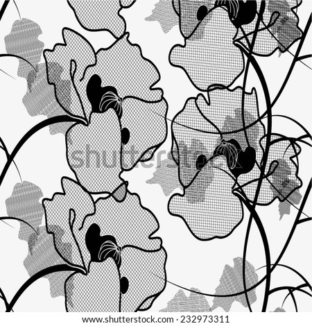 Black and white pattern poppies, cute seamless background, seamless floral illustrations. - stock vector
