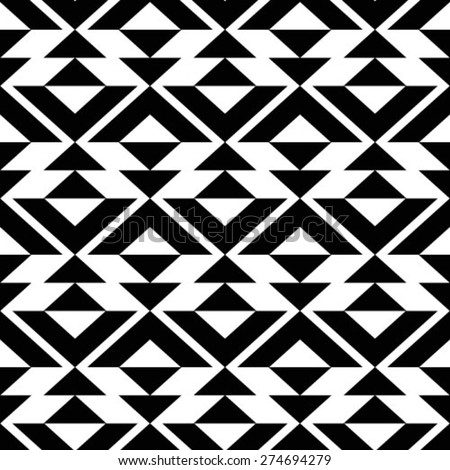 Black and white pattern. Repeating seamless vector background. - stock vector
