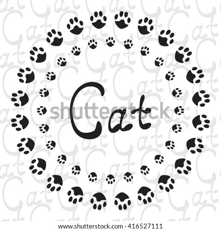 Black and white pattern with cat paw. Seamless vector hand drawn background