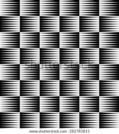 Black and white pattern with pointed, triangle shapes. (Repeatable)