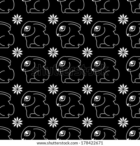 Black and white pattern with rabbits