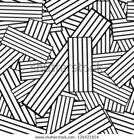 black and white pattern with rectangles and stripes