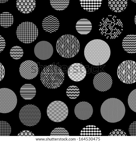Black and white patterned circles geometric seamless pattern, vector - stock vector