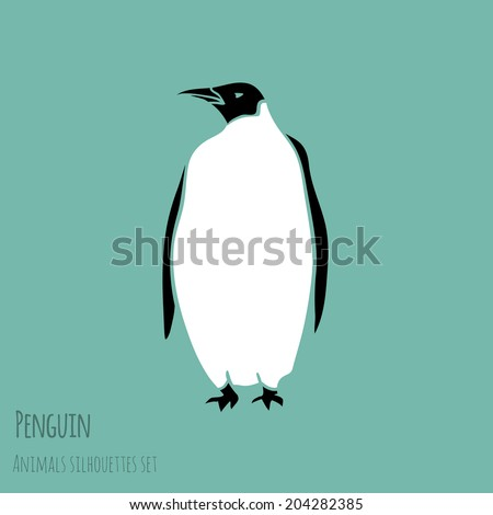 black and white penguin vector illustration - outline and silhouette set - stock vector