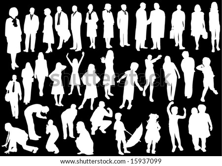 Black and white people - stock vector