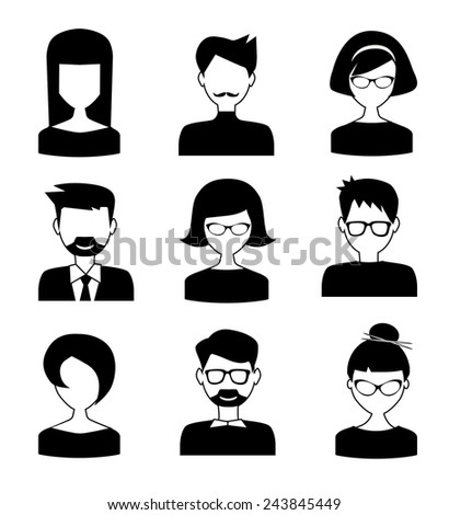 black and white people icons - stock vector