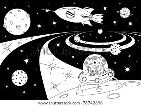 Black and white picture with the spaceships in the universe - stock vector