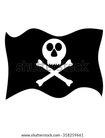 Black and white pirate flag
