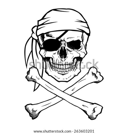 Black and white pirate skull and crossbones, also known as Jolly Roger, wearing a bandana. - stock vector