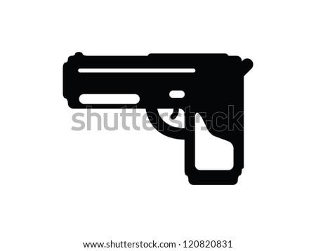 Black and White Pistol Mark. - stock vector