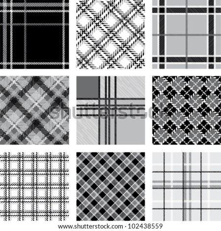 Black and white plaid patterns set - stock vector