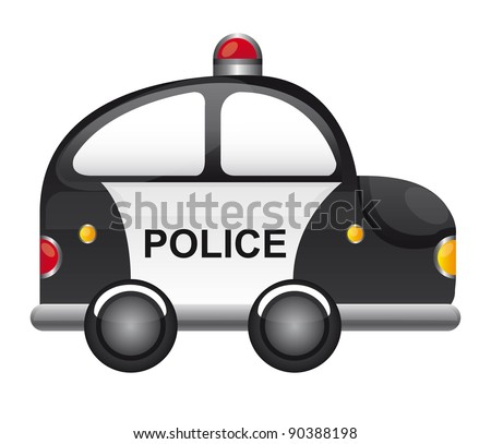 black and white police car with red light vector illustration - stock vector