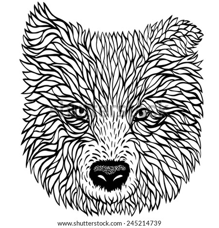 Black and white portrait of a dog, vector graphics - stock vector