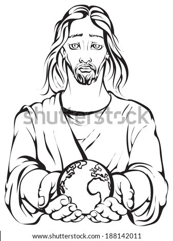 Black and white portrait of Jesus holding the hands planet Earth with white background. Colouring page. Also available colored version - stock vector